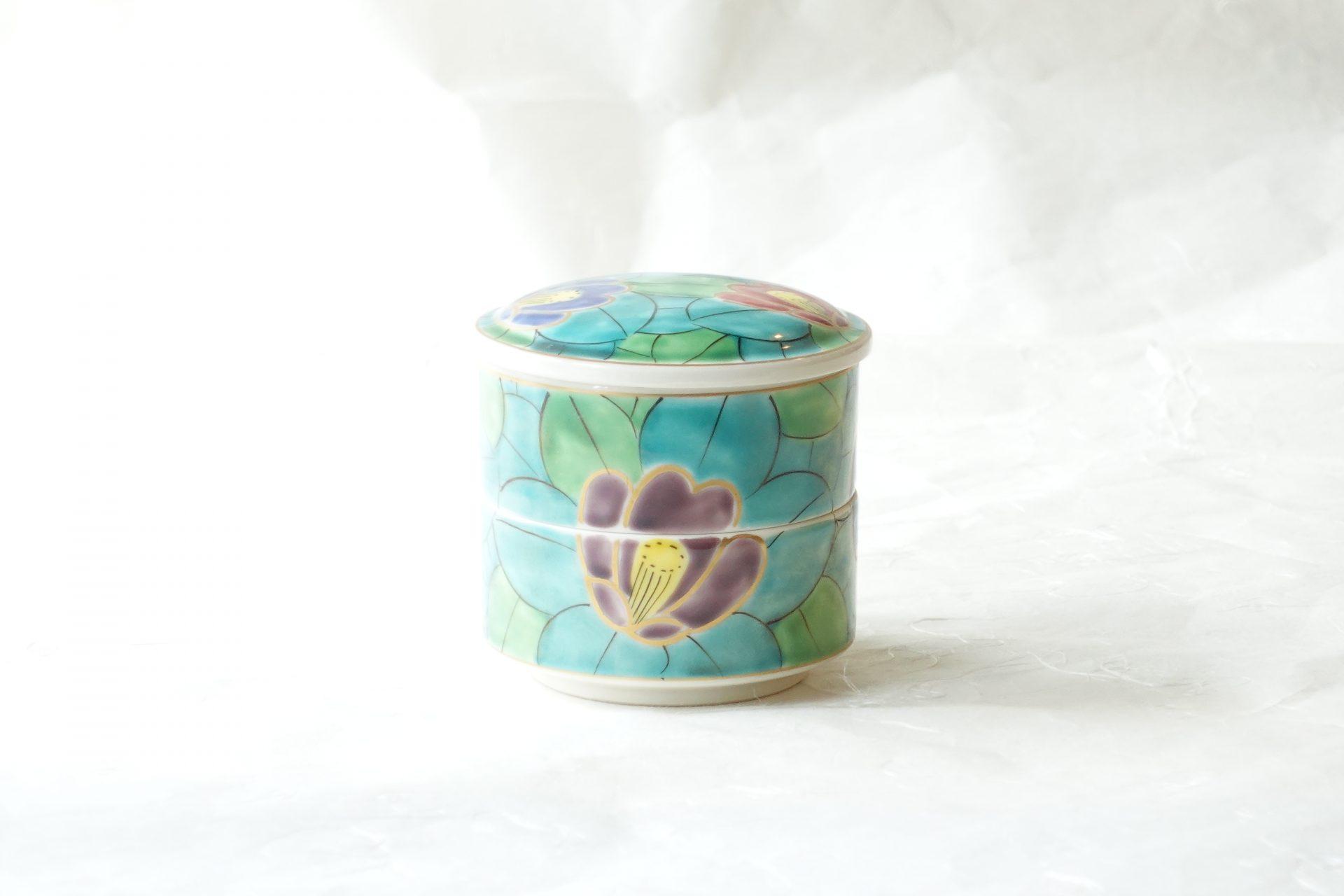 陶磁器 清水焼 手描き 椿 二段 蓋物 豪華 つくだ煮 漬物 小さな食材 そのまま食卓へ 小ぶり 小林漆陶 岐阜市