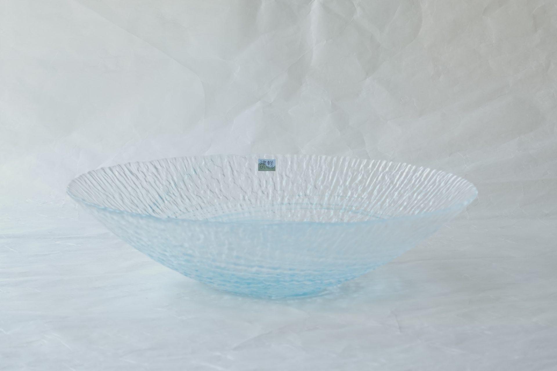 ガラス器 津軽びいどろ 水盤 花器 青森県 伝統工芸品 宙吹き 技法 ハンドメイド 世界に類を見ない 美しい色ガラス 繊細 職人 手仕事 氷を思わせる 凹凸 渦状 涼し気 さわやか 夏場 花を生ける メイドインジャパン