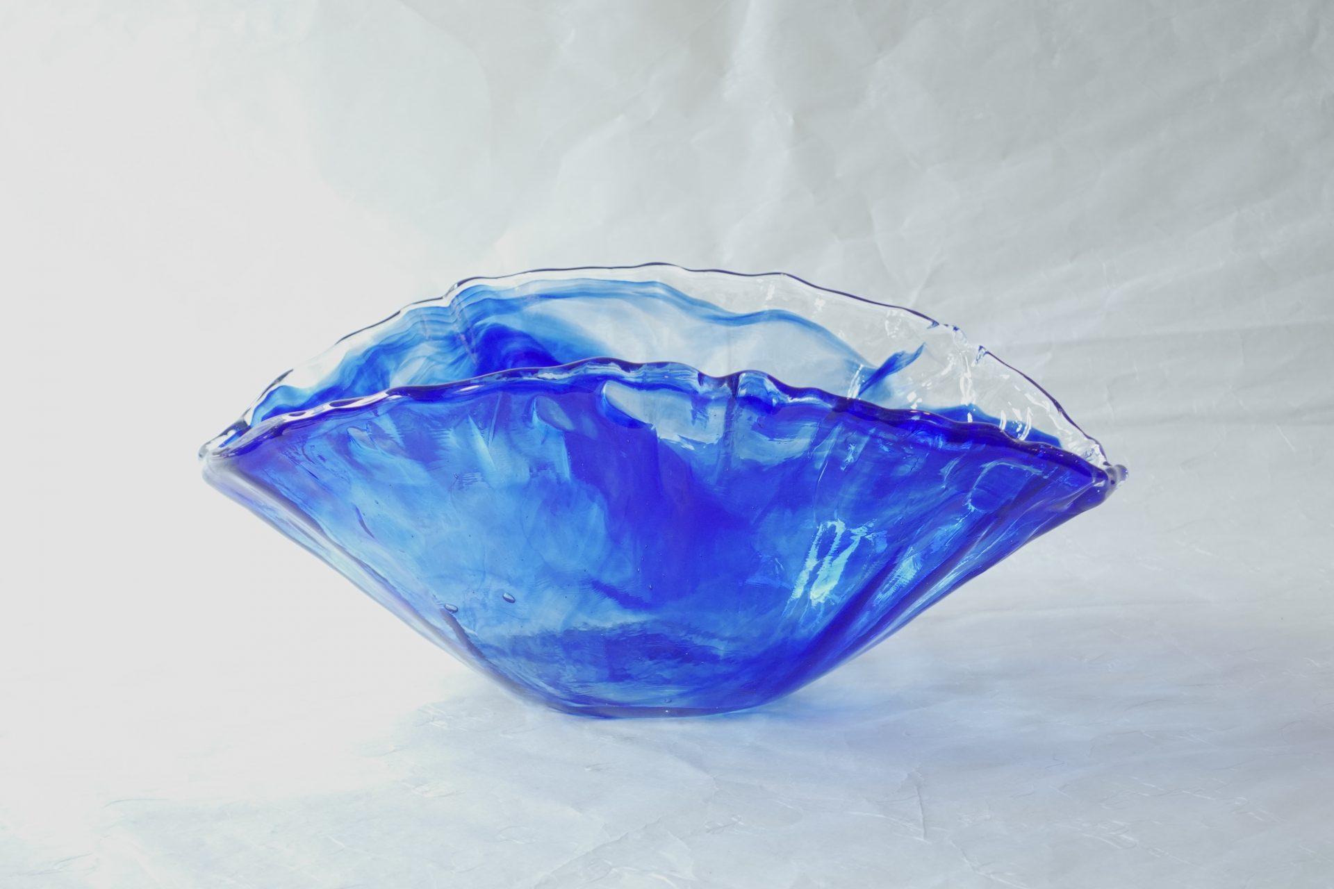 ガラス 日本製 手づくり 水盤 花器 ガラス職人 味わい 涼し気 ハンドメイド