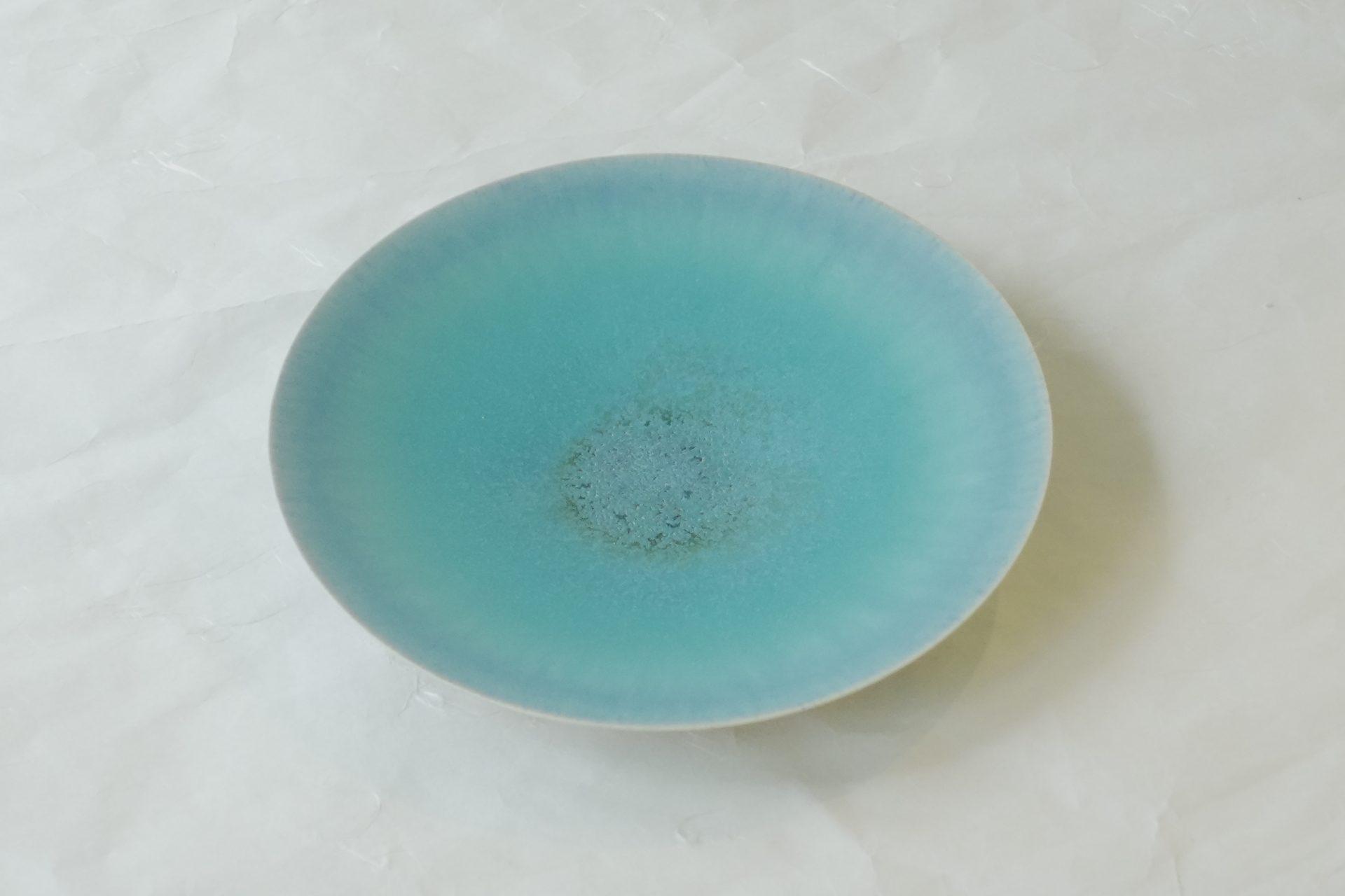 陶器 清水焼 青釉 手づくり プレート ろくろ挽き トルコブルー 皿 さわやか モーニングプレート 取り皿 副菜用の皿 デザートプレート 様々な用途 和皿 洋風のお料理 お洒落